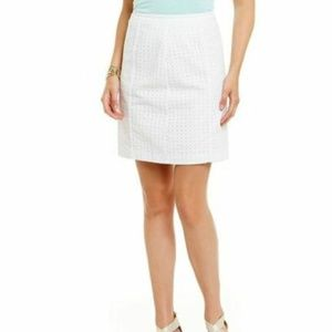 NEW Sigrid Olsen White Cotton Eyelet Skirt Sz 14